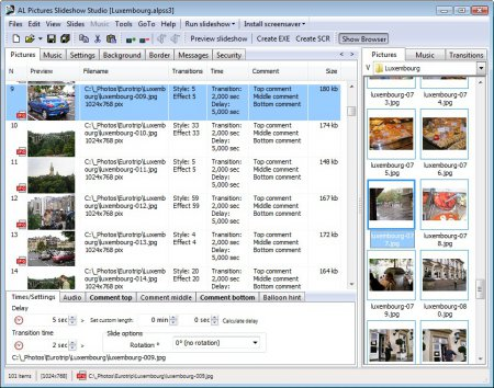 Скриншот к файлу: AL Pictures Slideshow Studio  3.1
