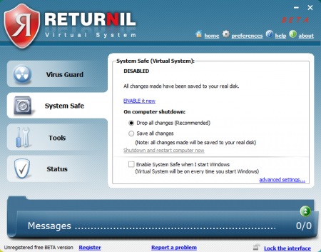 Скриншот к файлу: Returnil Virtual System 3.2