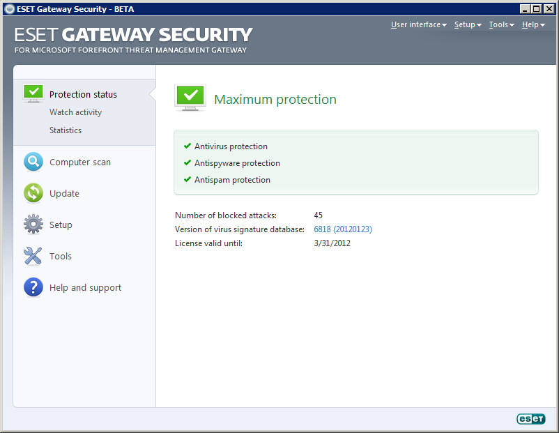 Скриншот к файлу: ESET Gateway Security 4.5